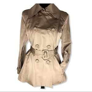 Magaschino Dble Breasted Belted Flare Trench Coat